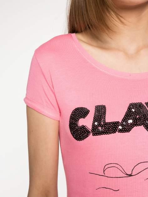 Różowy t-shirt z nadrukiem kota i myszy                                  zdj.                                  5