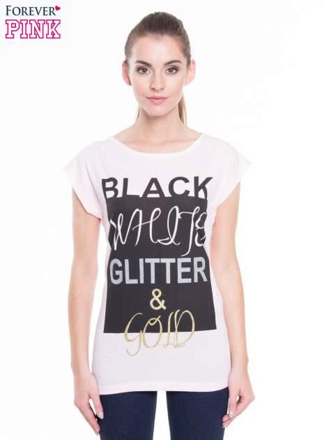 Różowy t-shirt z nadrukiem tekstowym z efektem glitter                                  zdj.                                  1