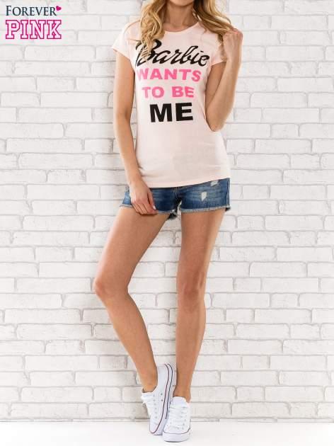 Różowy t-shirt z napisem BARBIE WANTS TO BE ME                                  zdj.                                  5