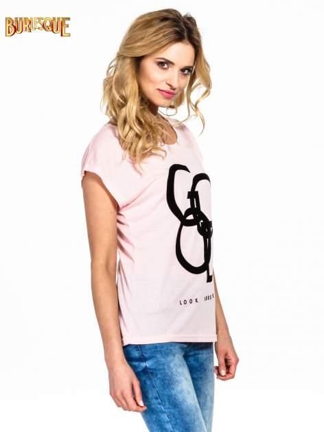 Różowy t-shirt z napisem LOOK GOOD FOREVER                                  zdj.                                  3