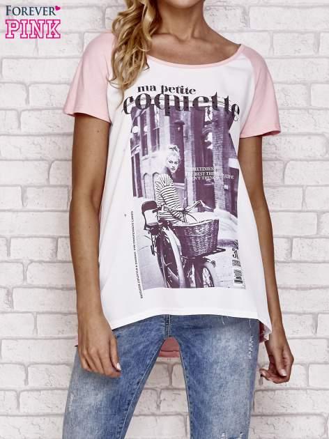 Różowy t-shirt z napisem MA PETITE COQUETTE
