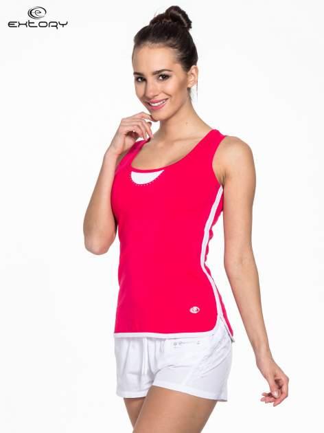 Różowy top sportowy z białym obszyciem z dżetami                                  zdj.                                  3