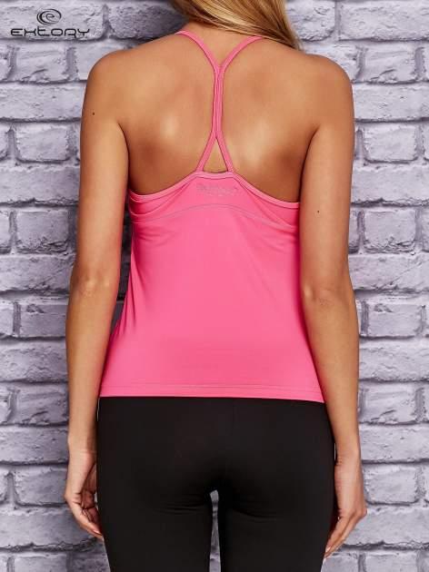 Różowy  top sportowy z siateczką i ramiączkami w kształcie litery T na plecach                                  zdj.                                  4