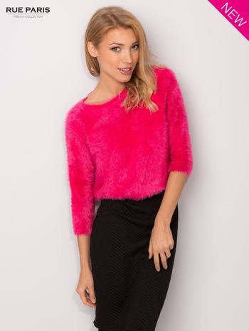 Różowy włochaty sweter z rękawami 3/4                                  zdj.                                  2