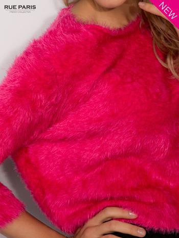 Różowy włochaty sweter z rękawami 3/4                                  zdj.                                  4