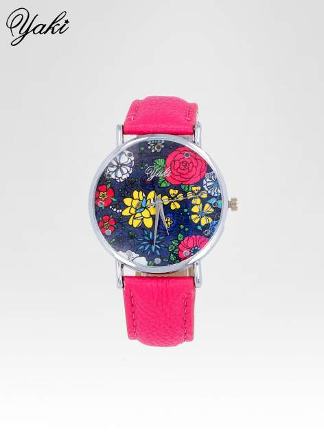 Różowy zegarek damski na pasku z kwiatową tarczą