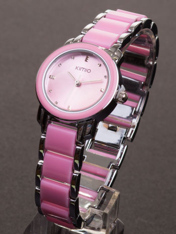 Różowy zegarek damski z cyrkoniami na bransolecie                                  zdj.                                  2