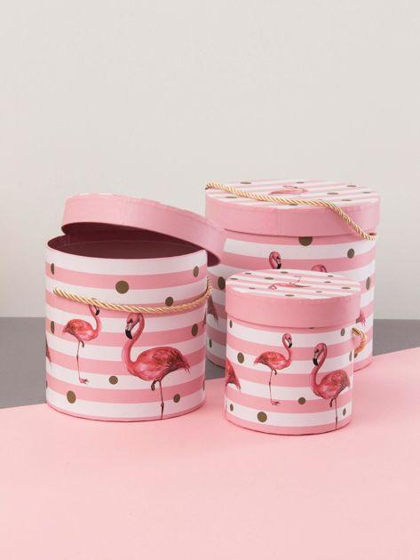 Różowy zestaw pudełek we flamingi                              zdj.                              2