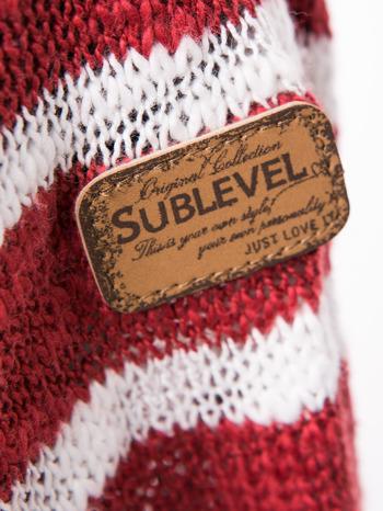 Rozpinany kardigan z kieszeniami w biało-czerwone paski                                  zdj.                                  8