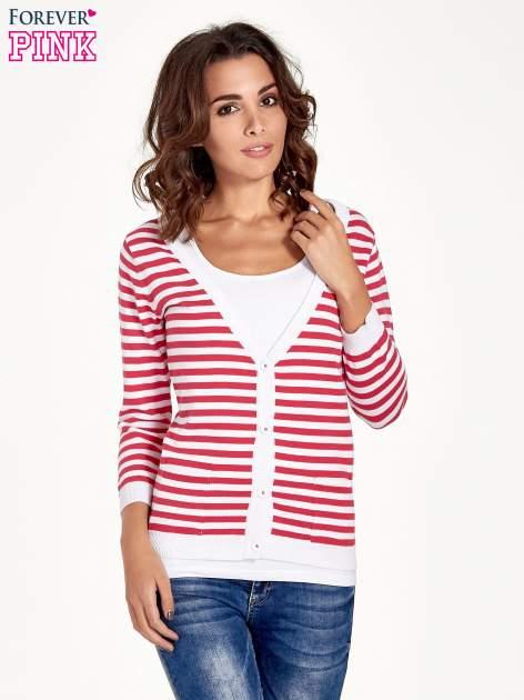 Rozpinany sweter w biało-czerwone paski z kieszonkami po bokach                                  zdj.                                  1