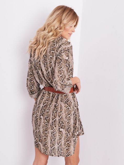 Beżowa sukienka animal print                              zdj.                              7