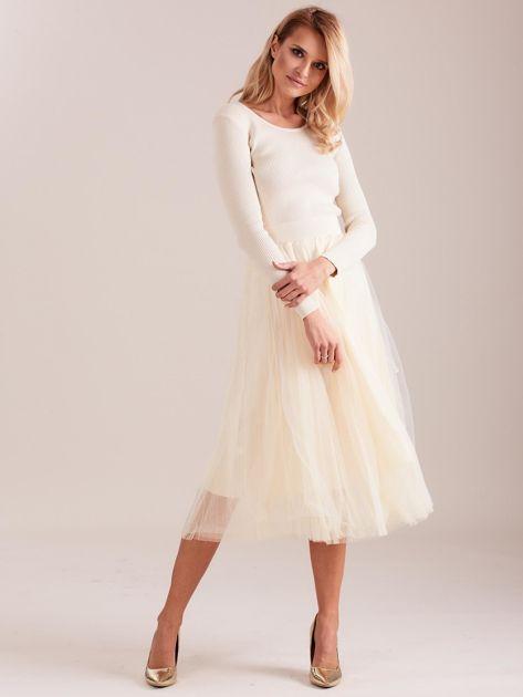 Beżowa sukienka midi                              zdj.                              1