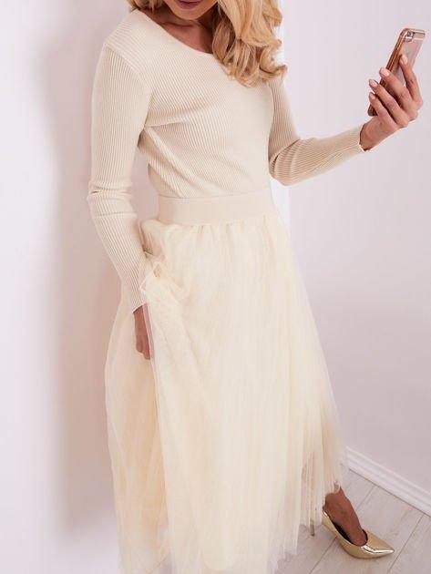 SCANDEZZA Beżowa sukienka midi                              zdj.                              1