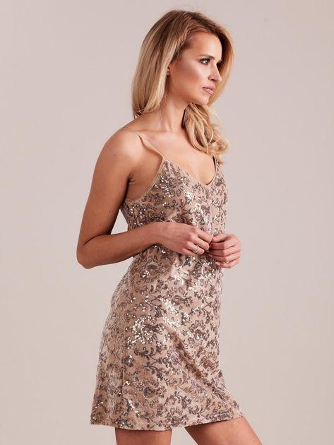 Beżowa sukienka mini                               zdj.                              3