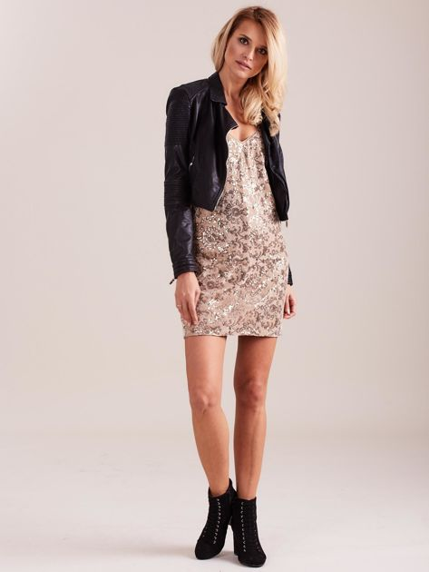 Beżowa sukienka mini                               zdj.                              1
