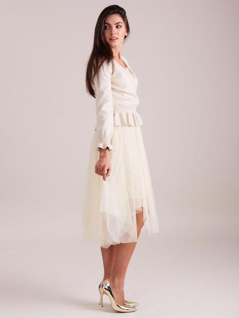SCANDEZZA Beżowa tiulowa sukienka                              zdj.                              1