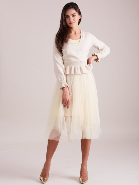 Beżowa tiulowa sukienka                              zdj.                              5
