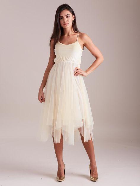 Beżowa tiulowa sukienka                              zdj.                              6