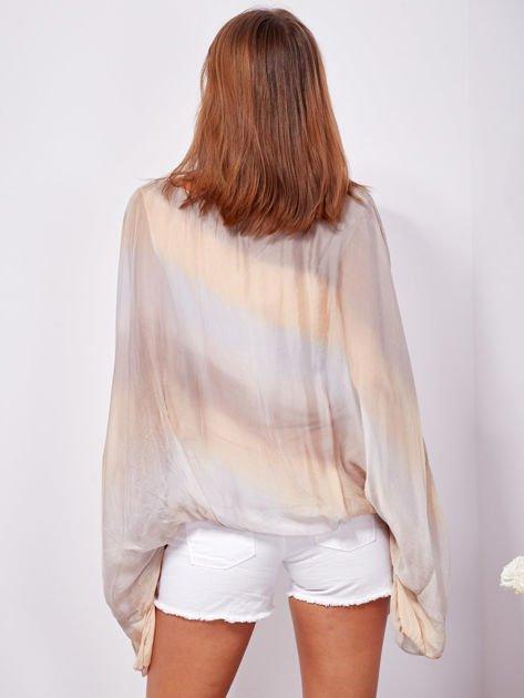 SCANDEZZA Beżowa zwiewna bluzka ombre                              zdj.                              2