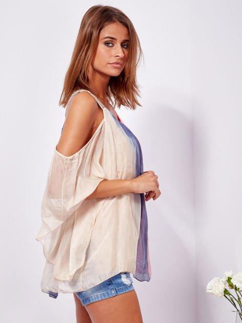 SCANDEZZA Beżowo-niebieska bluzka ombre bez ramion z cekinami                              zdj.                              3