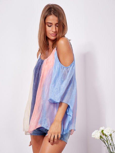 SCANDEZZA Beżowo-niebieska bluzka ombre bez ramion z cekinami                              zdj.                              6