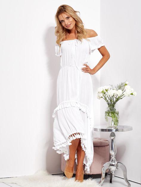 Biała asymetryczna sukienka hiszpanka z frędzlami                              zdj.                              3