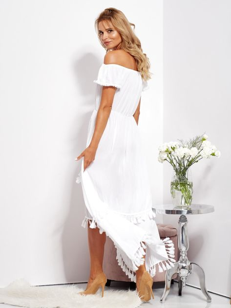 SCANDEZZA Biała asymetryczna sukienka hiszpanka z frędzlami                              zdj.                              8