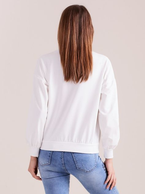SCANDEZZA Biała bluza z aplikacją                              zdj.                              5