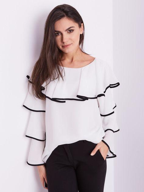 Biała bluzka z falbanami                              zdj.                              3