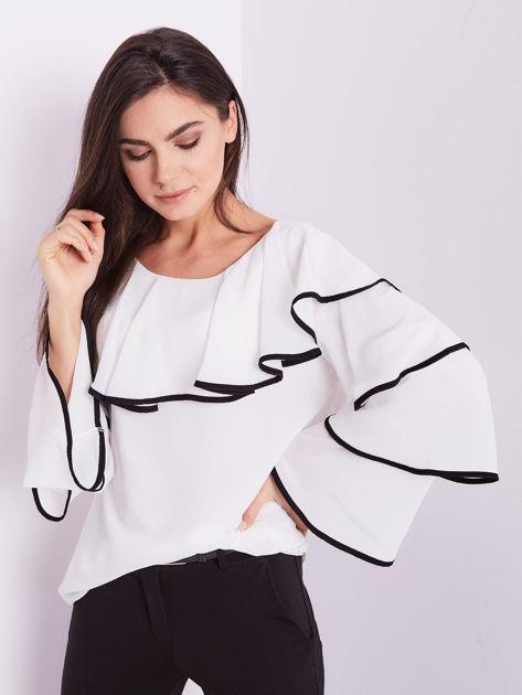 Biała bluzka z falbanami                              zdj.                              10
