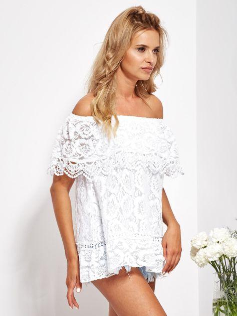Biała koronkowa bluzka hiszpanka                              zdj.                              2