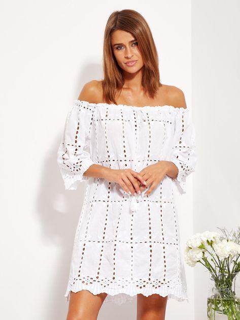 Biała sukienka hiszpanka z boho troczkiem i haftem                              zdj.                              4