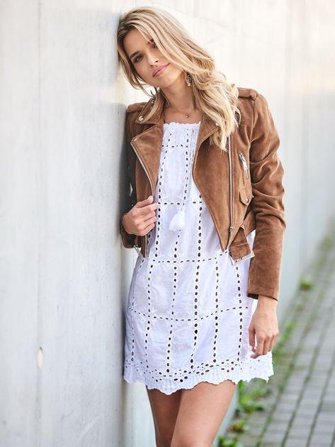 Biała sukienka hiszpanka z boho troczkiem i haftem                              zdj.                              5
