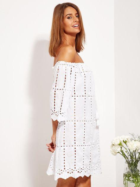 Biała sukienka hiszpanka z boho troczkiem i haftem                              zdj.                              9