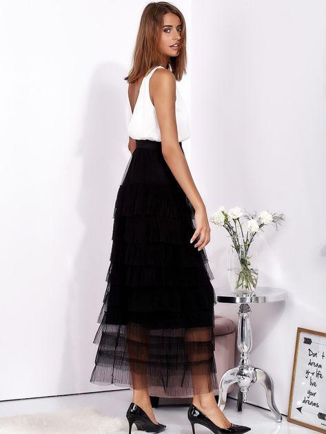 Biało-czarna sukienka maxi z plisowanymi falbanami                              zdj.                              4