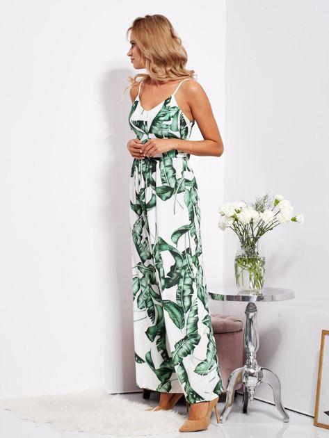 SCANDEZZA Biało-zielona maxi sukienka w liście z wiązaniem                              zdj.                              8