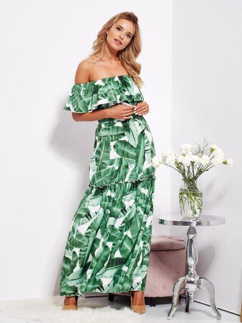 Biało-zielona sukienka hiszpanka maxi w tropikalne liście                              zdj.                              12