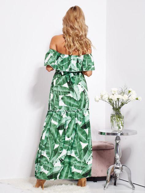 Biało-zielona sukienka hiszpanka maxi w tropikalne liście                              zdj.                              4
