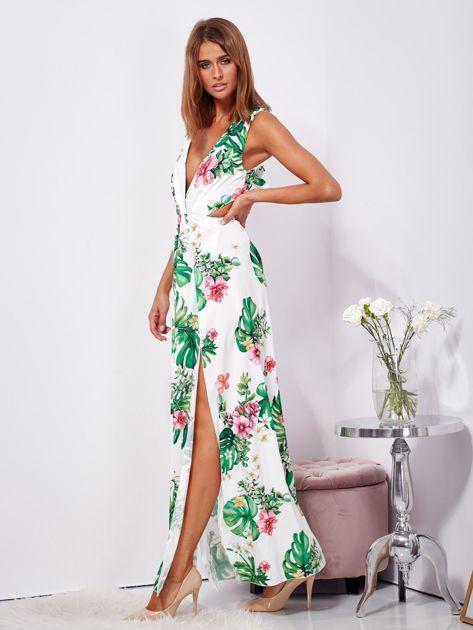 Biało-zielona sukienka maxi floral print z rozcięciem                              zdj.                              5