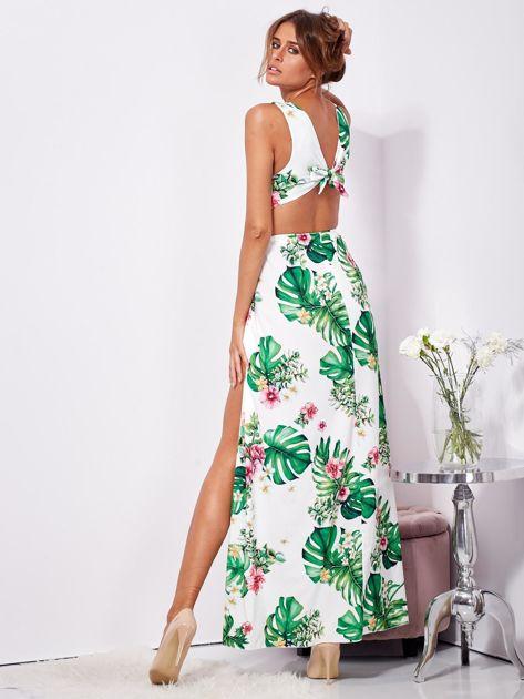 SCANDEZZA Biało-zielona sukienka maxi floral print z rozcięciem                              zdj.                              6
