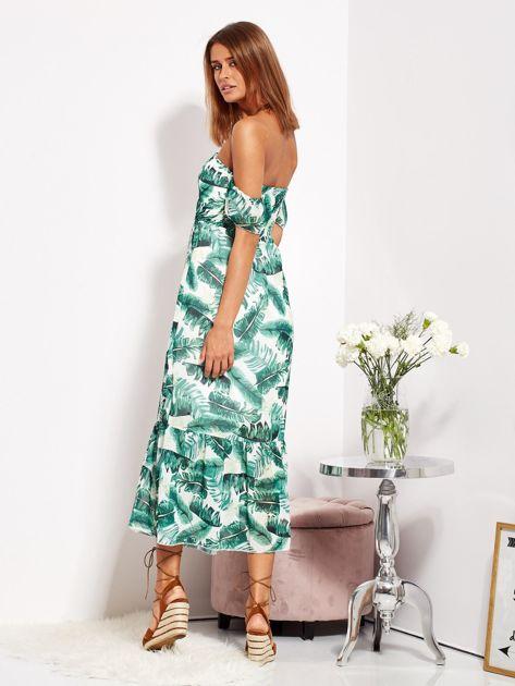 SCANDEZZA Biało-zielona sukienka maxi off shoulder w liście                              zdj.                              5