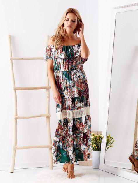 Biało-zielona sukienka maxi z etnicznym nadrukiem                              zdj.                              5