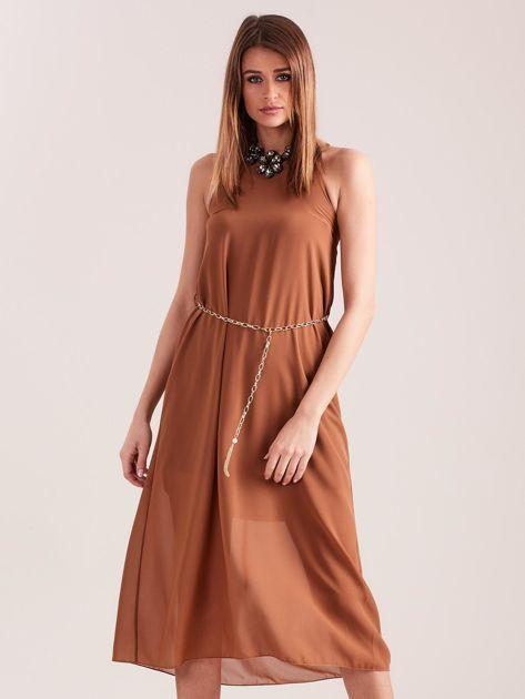 SCANDEZZA Brązowa sukienka z ozdobnym dekoltem                              zdj.                              2