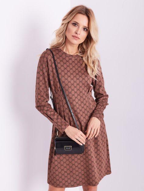 SCANDEZZA Brązowa sukienka ze wzorem                              zdj.                              4