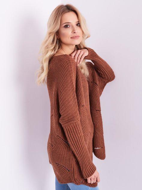 SCANDEZZA Brązowy luźny sweter z ażurowaniem                              zdj.                              5