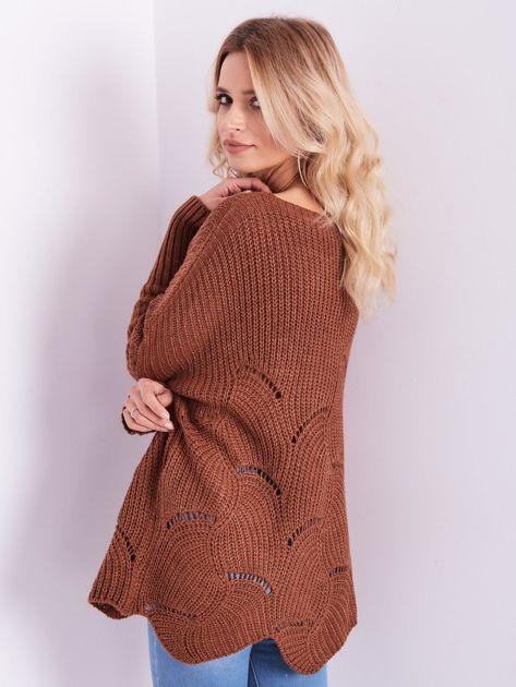 SCANDEZZA Brązowy luźny sweter z ażurowaniem                              zdj.                              11