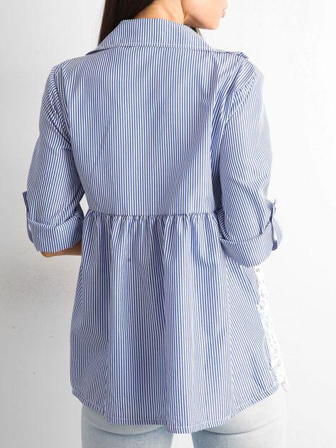 Ciemnoniebieska koszula w paski                              zdj.                              2