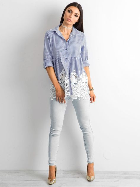 Ciemnoniebieska koszula w paski                              zdj.                              4