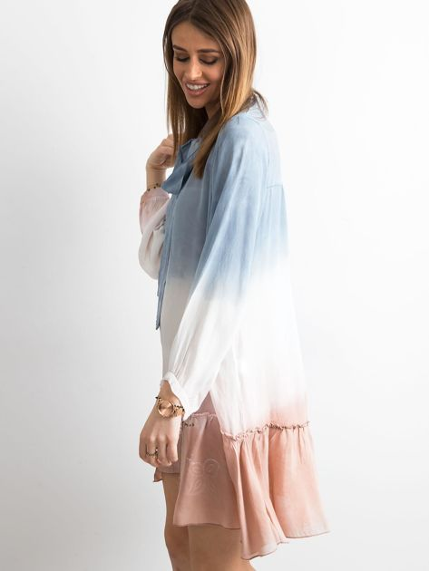 Ciemnoniebieska sukienka ombre                               zdj.                              3