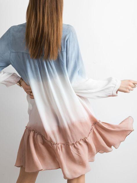 Ciemnoniebieska sukienka ombre                               zdj.                              2
